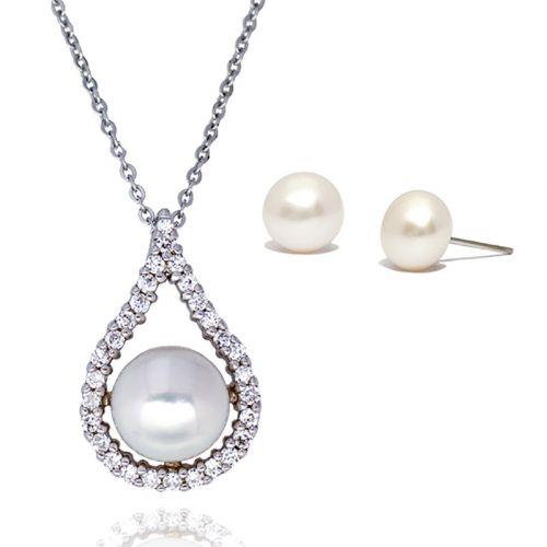 Kelvin Gems Abella Fresh Water Pearl Pendant and Earrings Gift Set