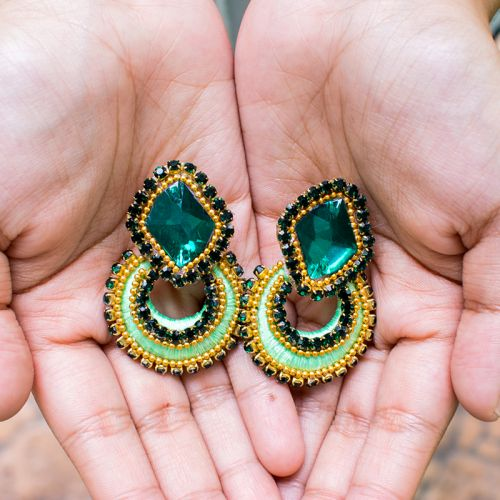Handmade Stud Chandbali Thread Earrings