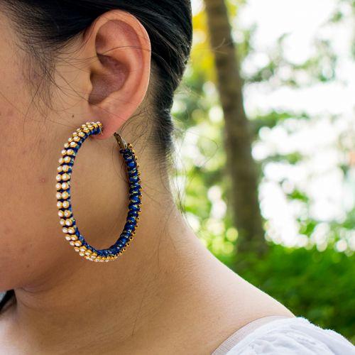 Handmade Big Hoop Silk Thread Earrings