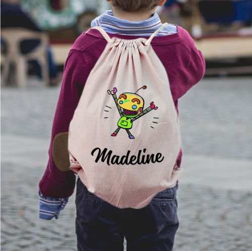 Personalized Robot Draw String Bag