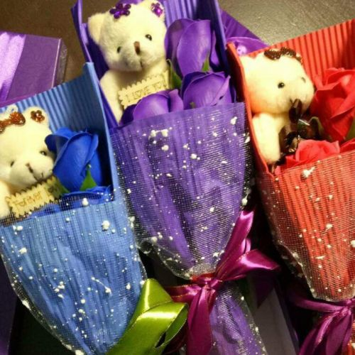Handmade Soap Rose Bouquet With Bear