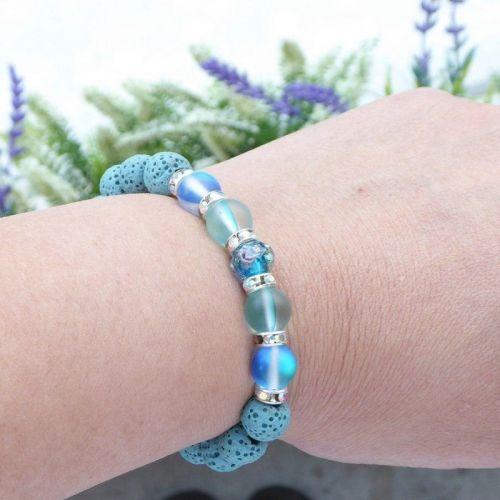 Blue Sparkle -Lava Diffuser Bracelet