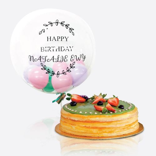 "Crepe Cake + Athirah 24"" Bubble Balloon"