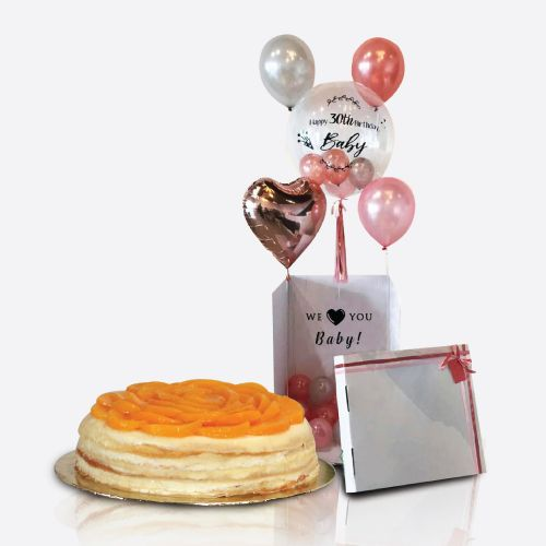 Crepe Cake + Balloon Surprise Box Denise
