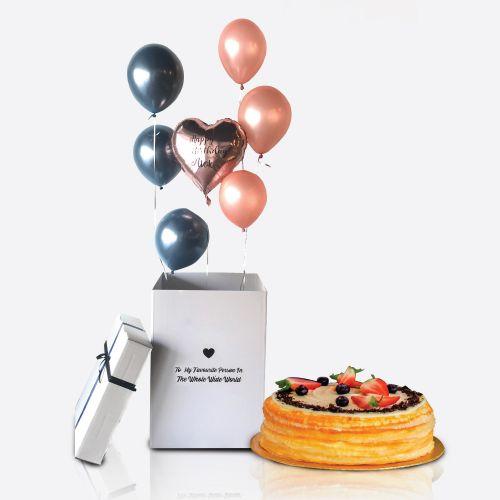 Crepe Cake + Balloon Surprise Box Macy