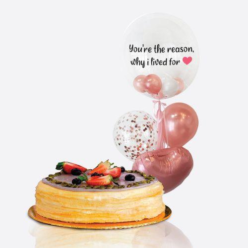 Crepe Cake + Bella Balloon Bunch