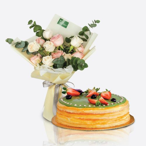 Crepe Cake + Caley Flower Bouquet