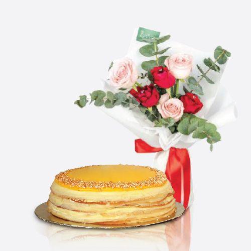 Crepe Cake + Caney Flower bouquet
