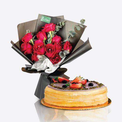 Crepe Cake + Celine Flower Bouquet