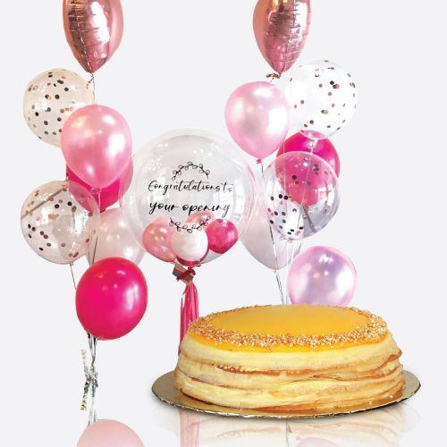 Crepe Cake + Miley Balloon Bunch