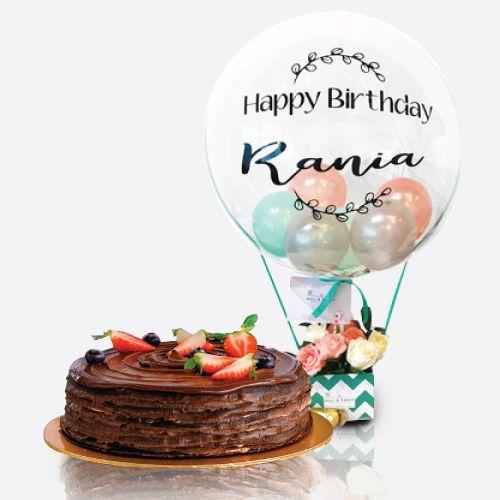 Crepe Cake + Pastel Balloon Flower Bloom Box