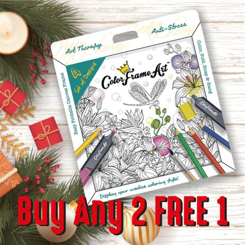 CHRISTMAS SALE  - BUY 2 FREE 1  (4 Set of Happy Home Design Colouring Art with 3D Frame)