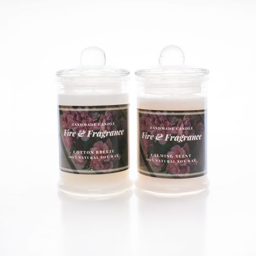 Handmade Scented Candle (glass jar with lid)