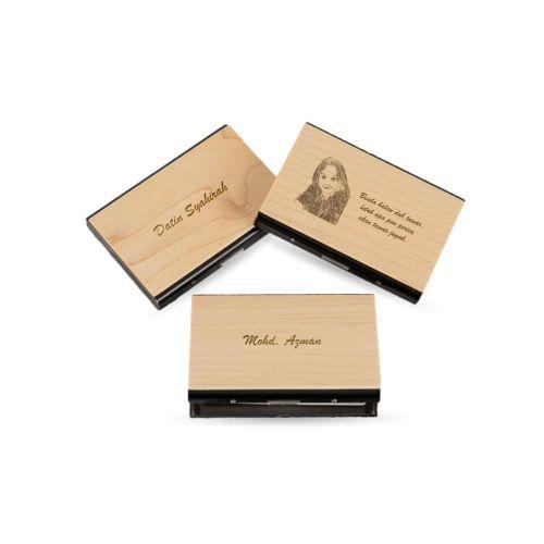 Personalised Bamboo Wood  Card Holder