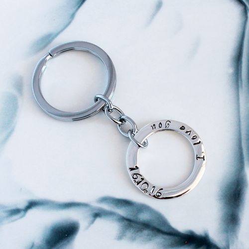 PERSONALISED CIRCLE OF LOVE STERLING SILVER KEY RING - Free Shipping
