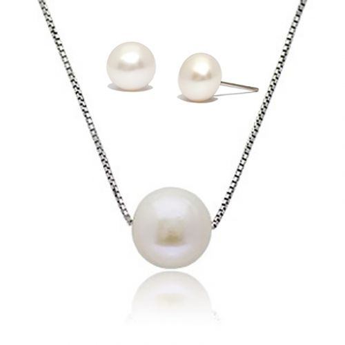Kelvin Gems Classic Only You Fresh Water Pearl  Pendant and Earrings Gift Set
