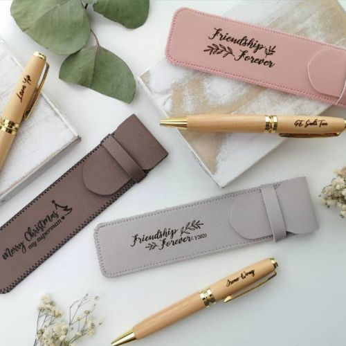 Customised Wooden Pen and Pen pouch