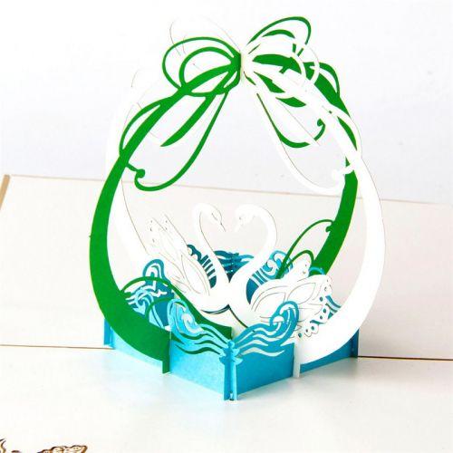 Handmade 3D Greeting Card - Lover Swan