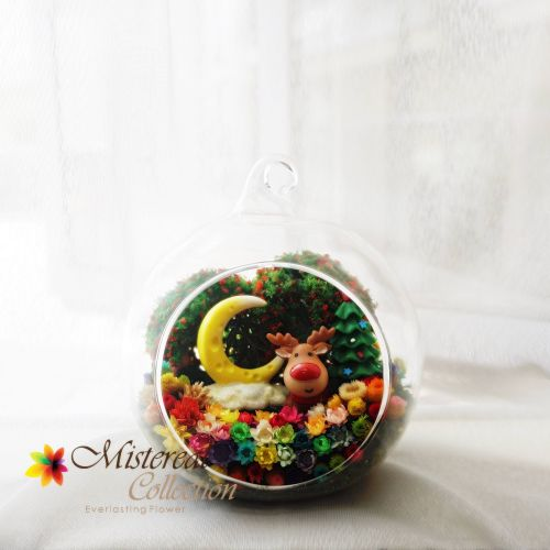 Christmas Deer with Moon- Mistereal Preserved Flowers