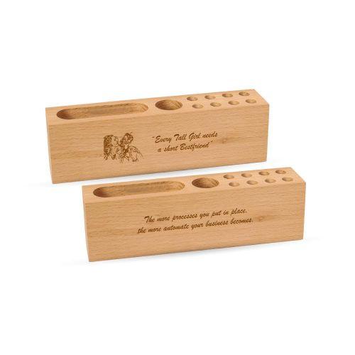 Personalised Bamboo Wood Desk Organiser Stand