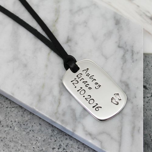 Personalised sterling silver dog tag pendant - Free Shipping