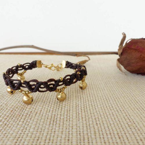 Zig Zag Brass Bell Macrame Bracelet 【BB02】