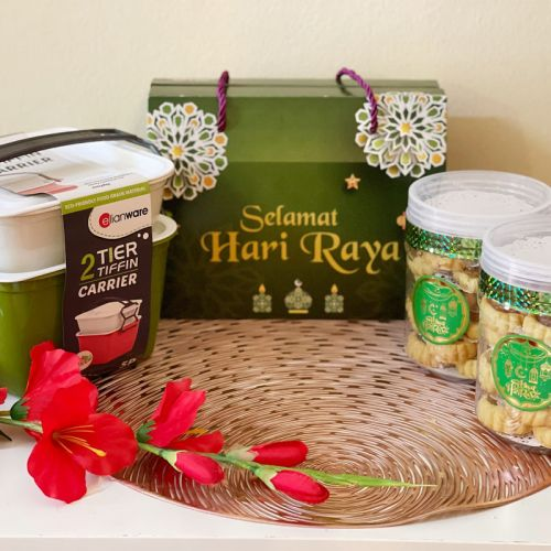 3 in 1 Biskut Raya Cookies Exclusive Gift Set Corporate Gift Tiffin Tupperware 2-tier Cantik (HALAL & SEDAP)