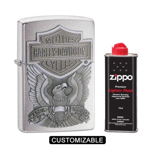 Zippo 200HD.H284 Harley Davidson Logo Emblem Brushed Chrome Lighter