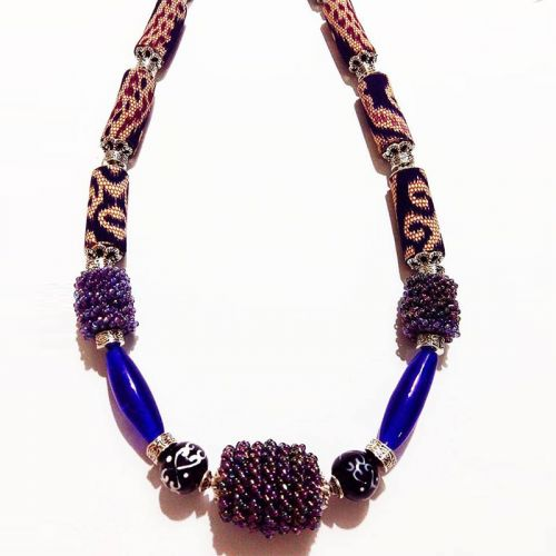 Tubular fabric / lace beads necklace (with Kabo )