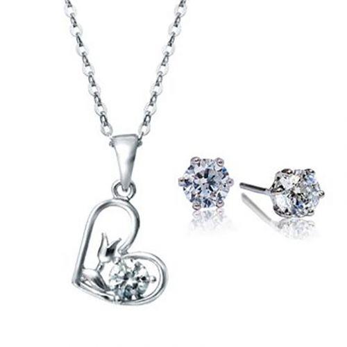 Kelvin Gems Flower Heart Pendant & Earrings Gift Set