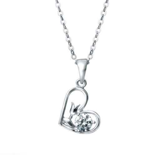 Kelvin Gems Premium Flower Heart Pendant Necklace