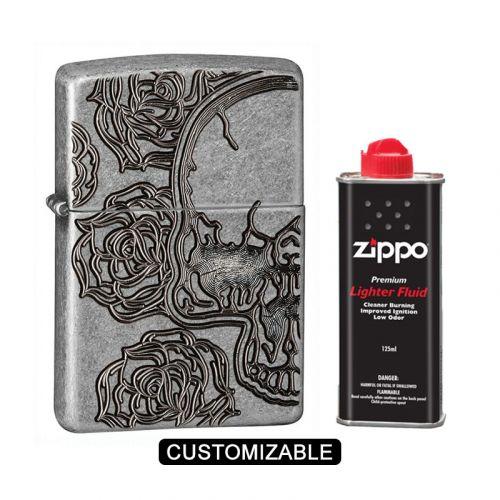 Zippo 28988 Skull Roses Antique Silver Plate Lighter