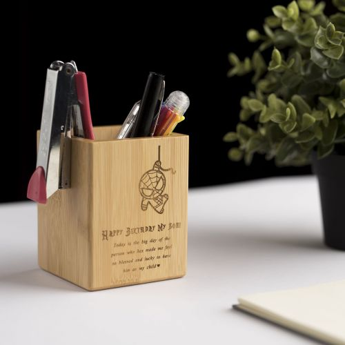 Personalized Bamboo Pen Holder
