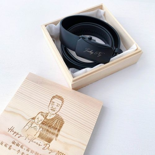 Personalized Leather Belt With Wooden Box