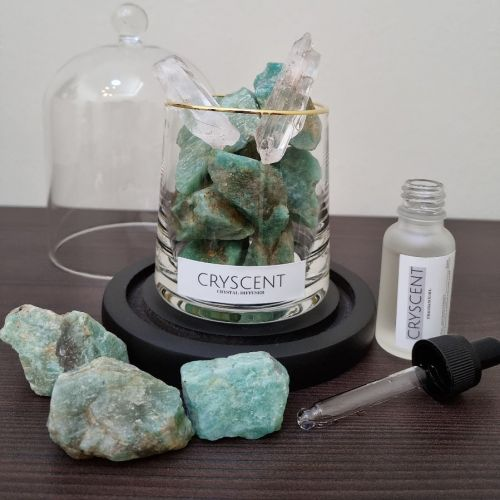Cryscent Premium Crystal Aromatherapy with Amazonite and Pine and Eucalyptus plant essential oil (20ml)