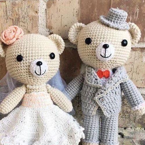 Handmade Crochet Wedding Couple Car Decor