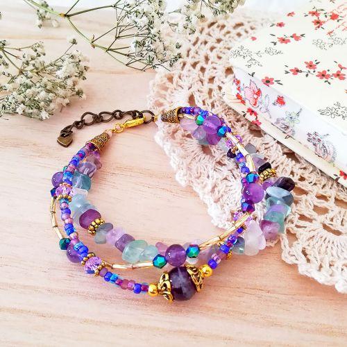 Handmade Gemstone Layers Bracelet 02 Purple (HGLB02)