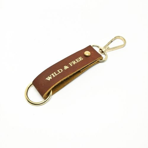 Genuine Leather Keychain with Swivel Clasps + Key Ring (Free Name Embossing)