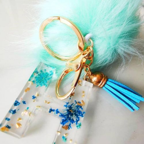 Custom Handmade Floral  Letter Keychain with Tassel and Faux Fur