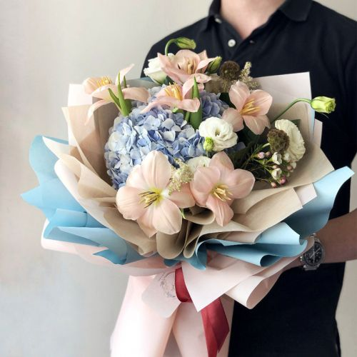 Fleurever Blush Pastel Pink and Blue Flower Bouquet