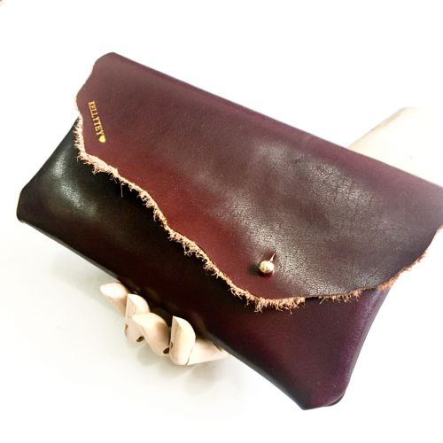 Personalised Leather Mini Clutch @Beauty in Flaw - Dark Maroon