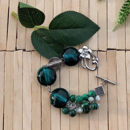 Handmade Emerald Cluster Bracelet