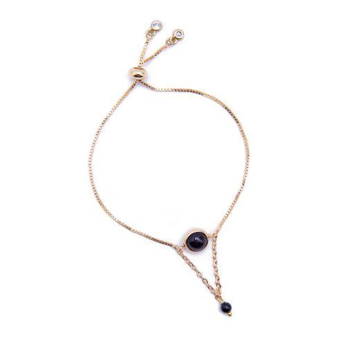 Kelvin Gems La Luna Black Onyx Adjustable Bracelet