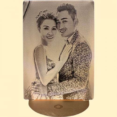 UNIQUE Personalized 3D LED Photo Lamp with Classic Round Wooden Base (Wireless) - Gift For All Occasion (with wordings)