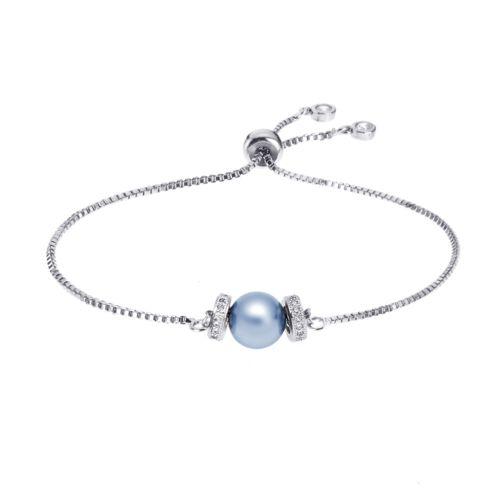 Kelvin Gems Luna Light Blue Swarovski Crystal Pearl Adjustable Bracelet