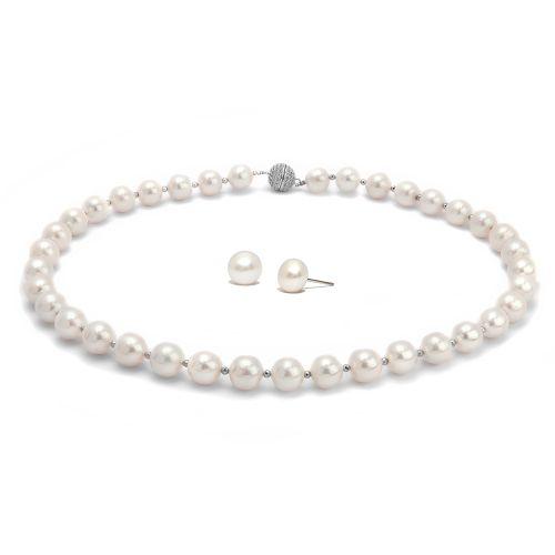Kelvin Gems Classic Light Natalie Fresh Water Pearl Necklace & Earrings Gift Set