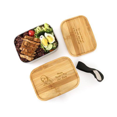 Personalised Bamboo  Wood Meal Box (Bento)