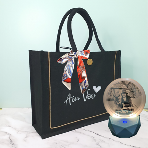 Personalized 3D Photo LED Lamp + Personalized Big Jute Tote Bag