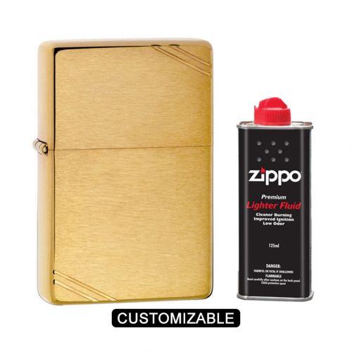 Zippo 240 Brushed Brass Vintage with Slashes Lighter