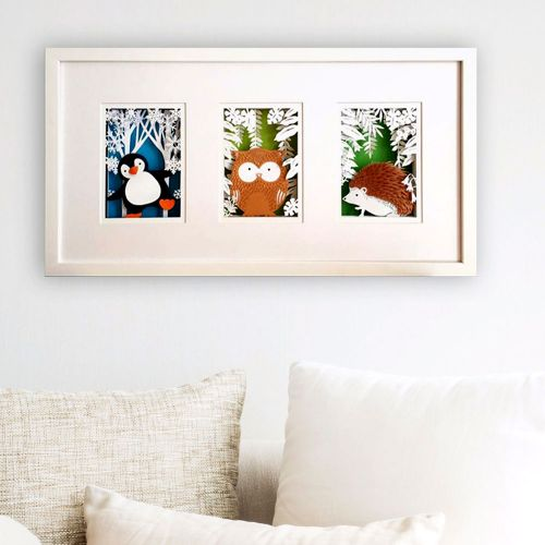 Woodland 3 Animal Series - Handmade Papercut Wall Art with LED Light